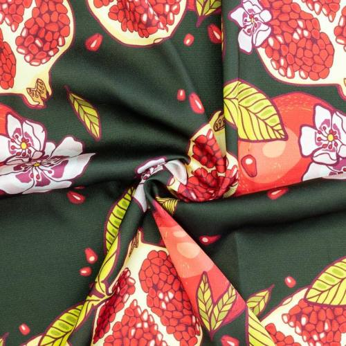 Satin vert sapin motif grenade et fleur rose