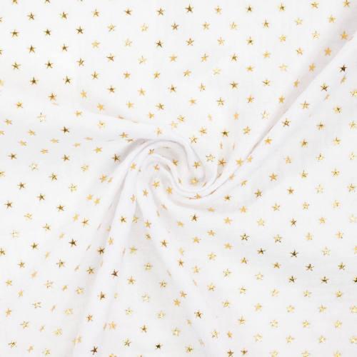 Double gaze blanche imprimée étoile dorée