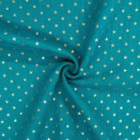 Double gaze bleu canard imprimée étoile dorée