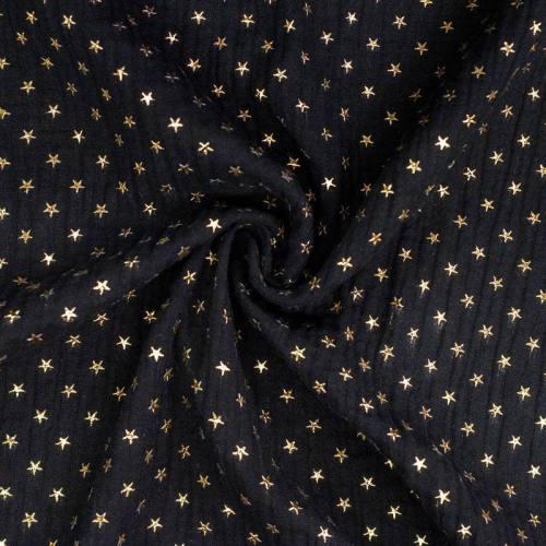 Double gaze noire imprimée étoile dorée