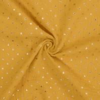Double gaze safran imprimée étoile dorée