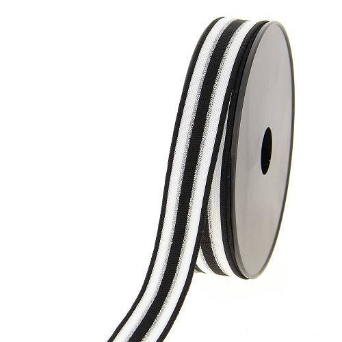 Ruban maille décoratif noir et blanc avec liseré argenté métallisé