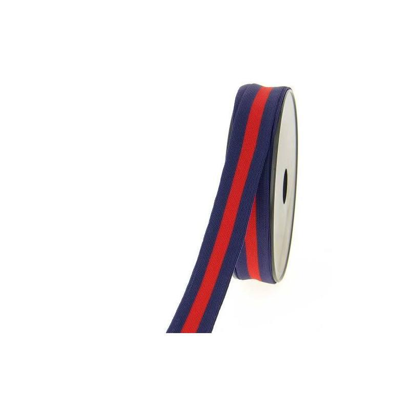 Ruban maille décoratif bleu marine et rouge