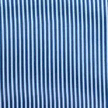 Coton bleu roi fines rayures blanches 3mm