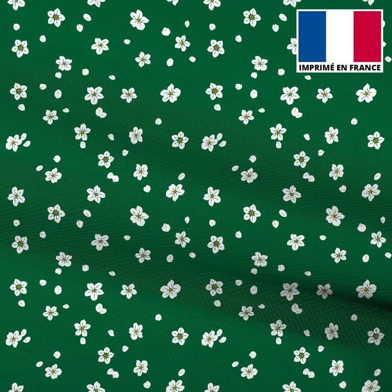Mousseline crêpe vert sapin imprimée fleur blanche