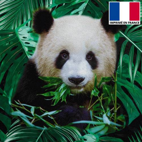Coupon de velours ras imprimé panda jungle 44x44cm