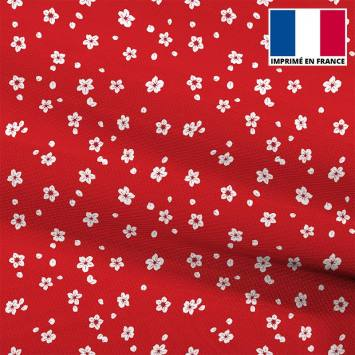 Mousseline crêpe rouge imprimée fleur blanche