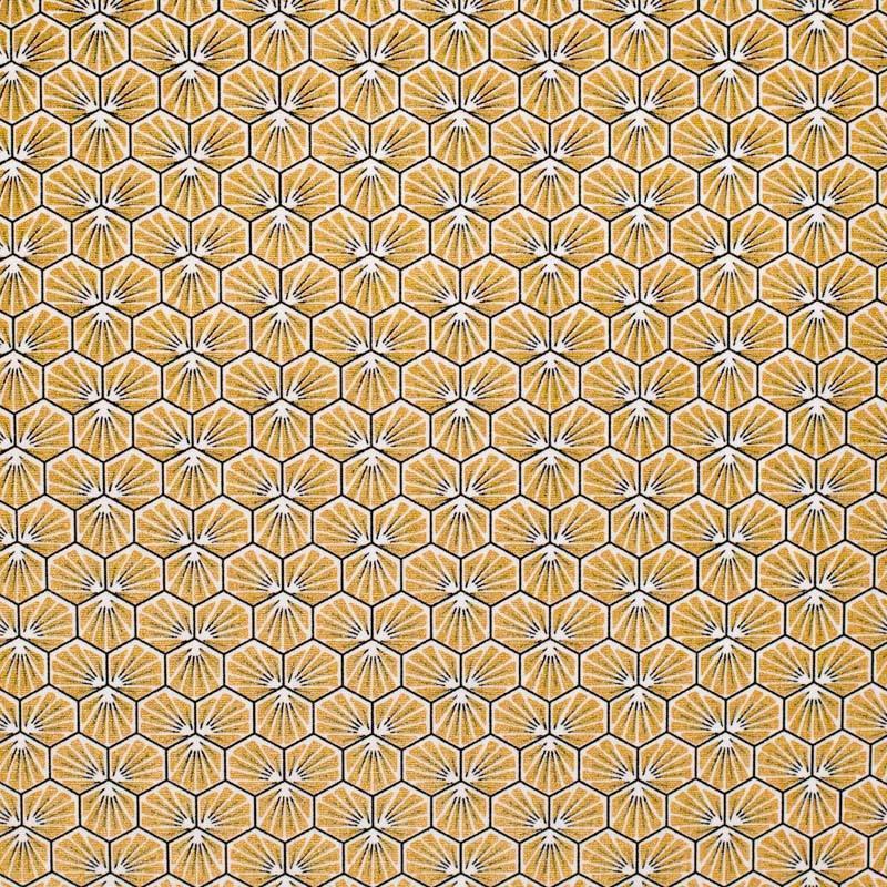 Coton enduit or motif trèfle riad
