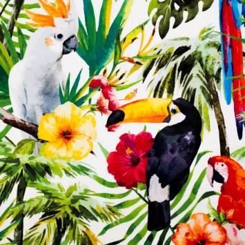Toile extérieure Téflon blanche motif feuilles et oiseaux tropicaux