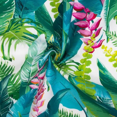 Toile extérieure Téflon blanche motif feuille tropicale oiseau du paradis