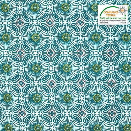 Coton enduit blanc motif fleur bleu canard womby