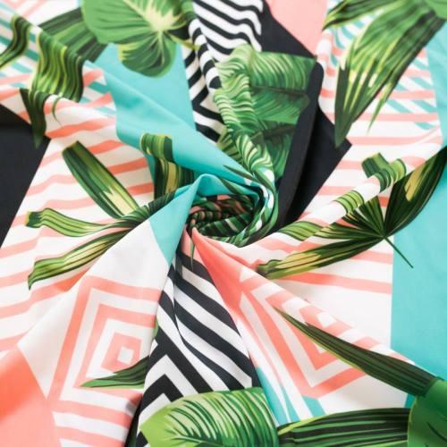 Lycra imprimé géométrique et jungle