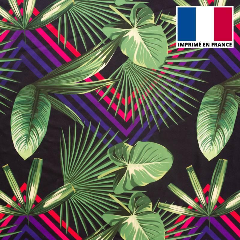 Lycra noir imprimé géométrique et jungle