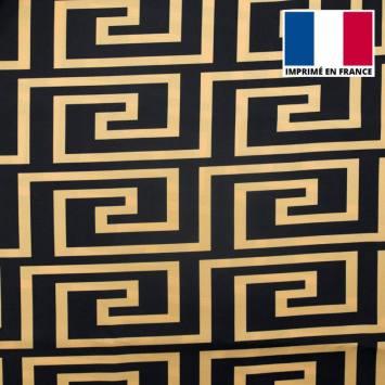 Satin noir imprimé labyrinthe géométrique