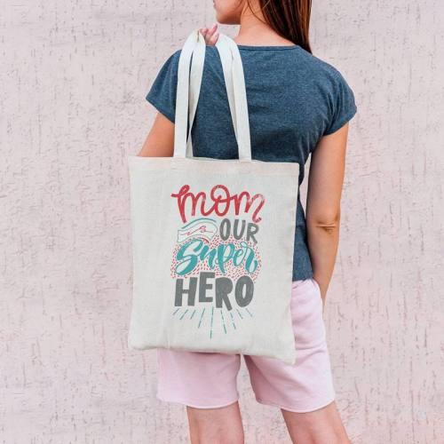 Coupon 45X45 cm toile coton canvas mom is super hero