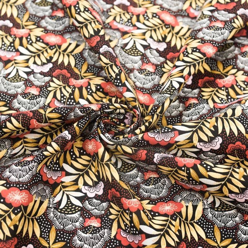 Coton noir imprimé fleur