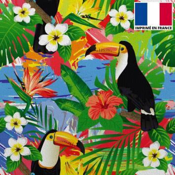 Velours ras bleu imprimé toucan et fleur de Tiaré