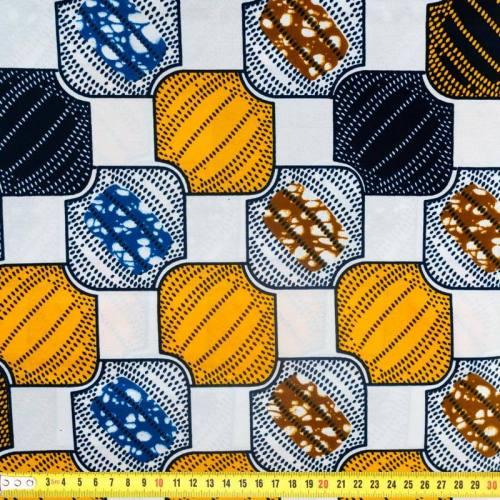 Wax - Tissu africain motif carré jaune safran et bleu 363