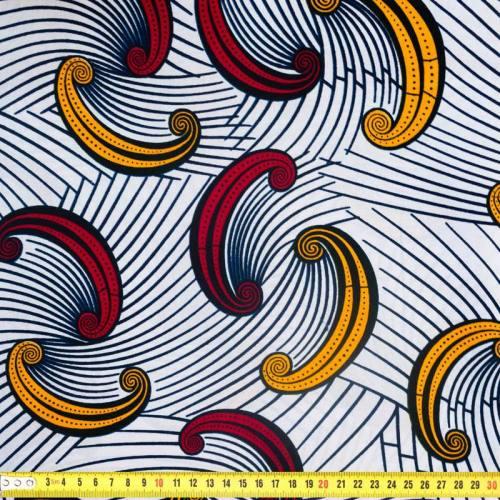 Wax - Tissu africain motif demi-lune bordeaux et ocre 338