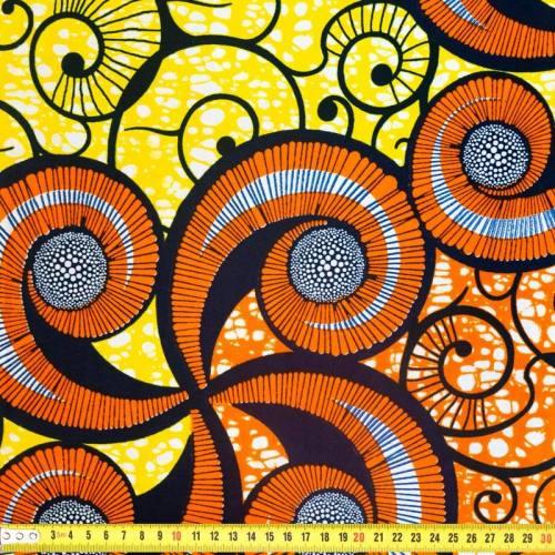 Wax - Tissu africain jaune motif coquillage orange 354