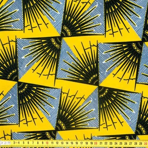 Wax - Tissu africain motif soleil jaune et noir 366
