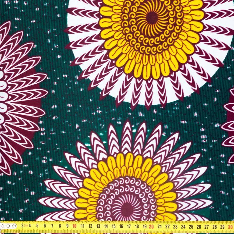 Wax - Tissu africain vert motif fleur jaune 326