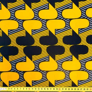 Wax - Tissu africain safran motif bulle et rayure 339