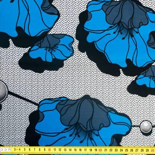 Wax - Tissu africain motif coquelicot bleu 352