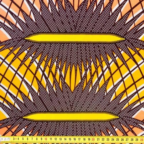 Wax - Tissu africain motif feuille marron 341