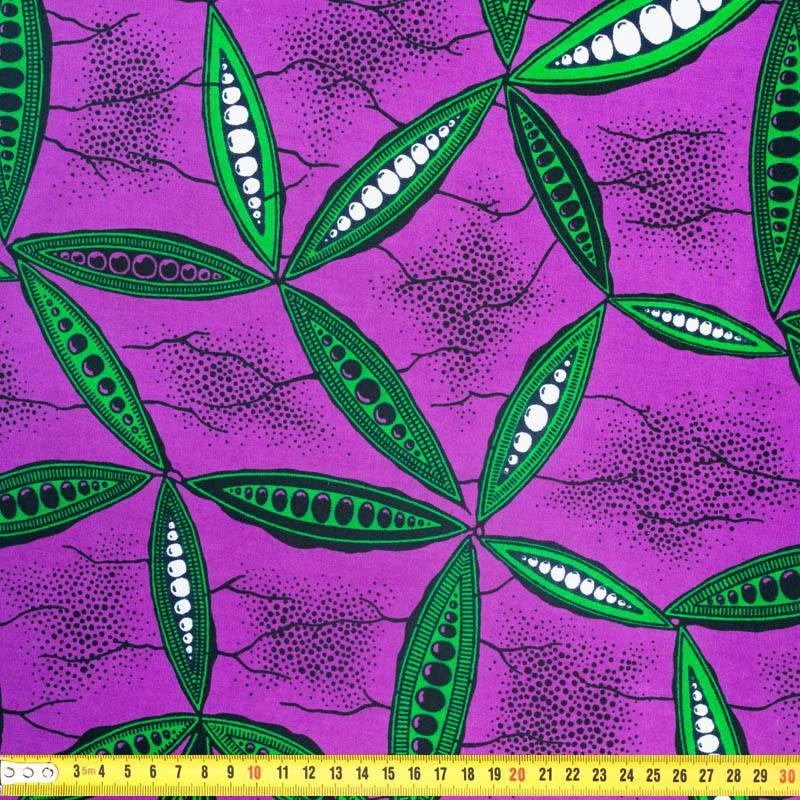 Wax - Tissu africain violet motif feuille verte 342