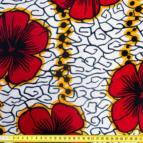 Wax - Tissu africain motif hibiscus rouge 334