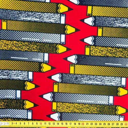 Wax - Tissu africain motif crayon jaune et noir 332