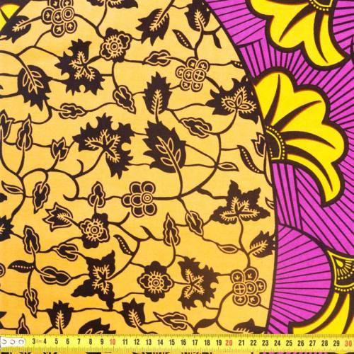 Wax - Tissu africain motif floral bleu et violet 351