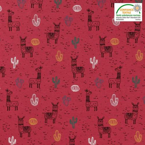 Jersey framboise motif lama et cactus