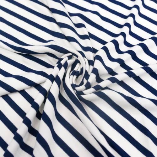 Jersey viscose blanc rayé bleu