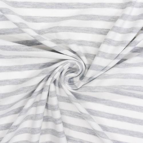Jersey rayé blanc et gris chiné