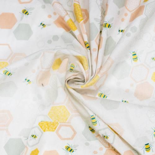 Coton blanc imprimé abeille