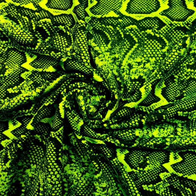 Lycra imprimé peau de serpent vert fluo