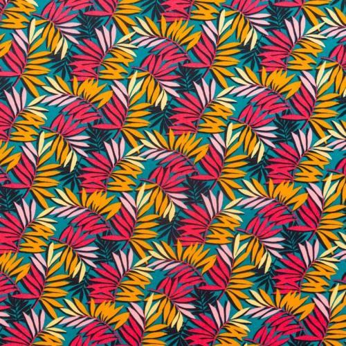 Coton bleu canard motif feuille multicolore