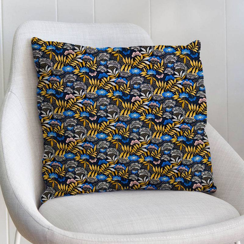 Coton imprimé floral bleu et doré