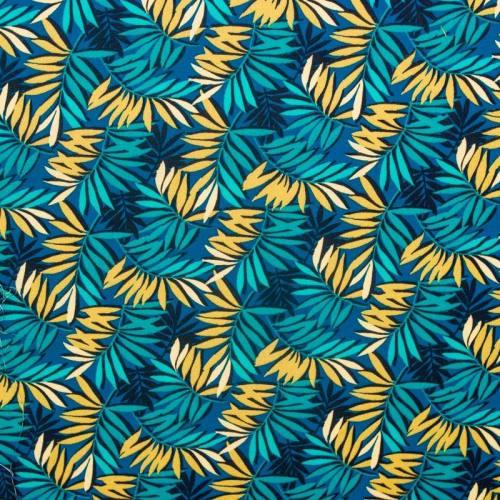 Coton bleu motif feuille turquoise et miel