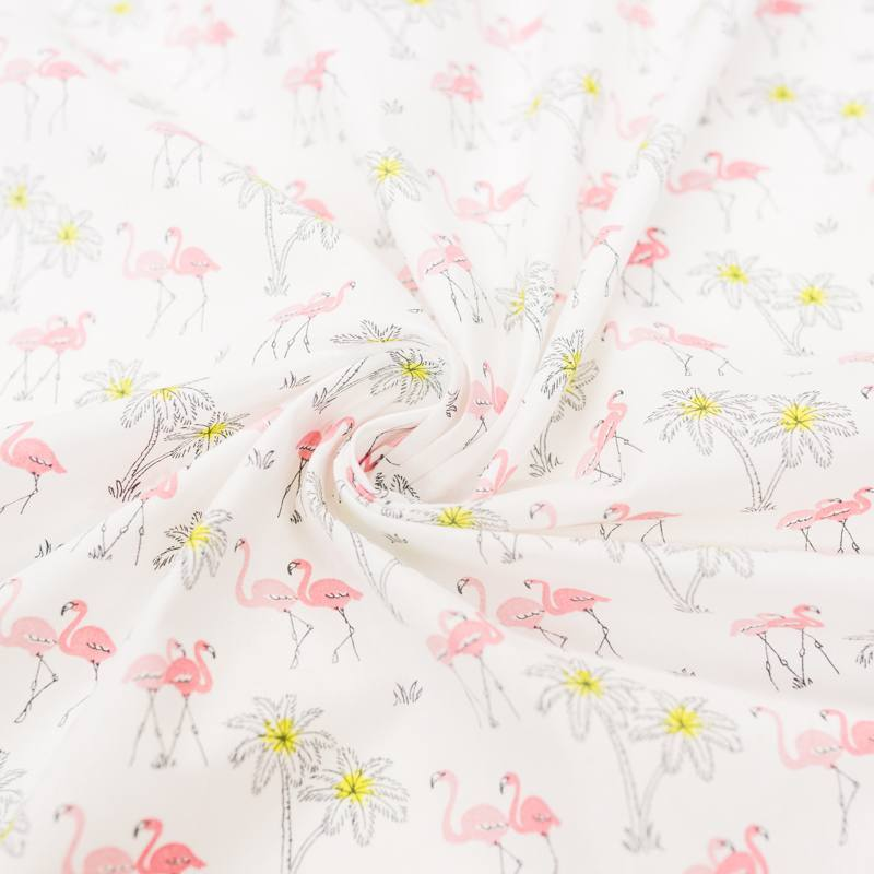 Coton blanc motif flamant rose et palmier jaune