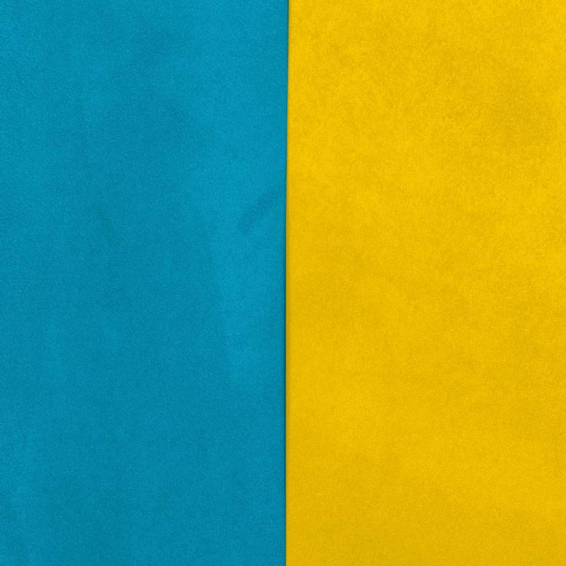 Suedine Alaska Reversible Bleu Canard Jaune Soleil