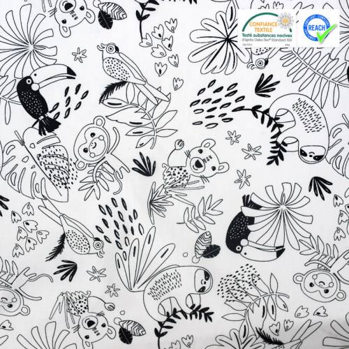 Coton à colorier motif jungle et animaux