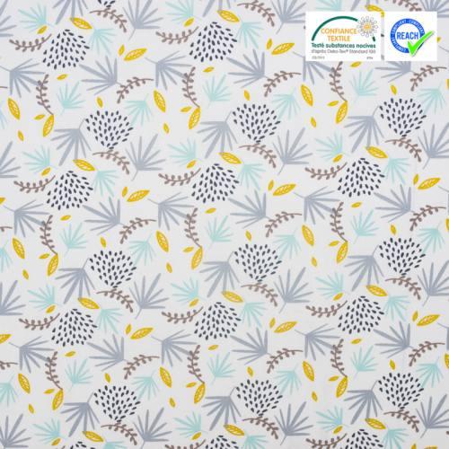 Coton blanc imprimé feuille turquoise et grise