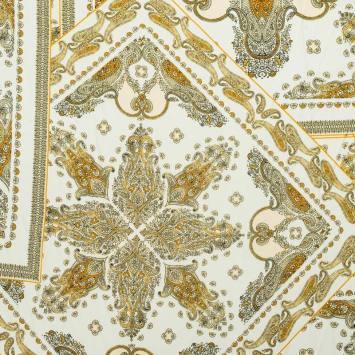 Tissu satin blanc cassé imprimé cachemire doré