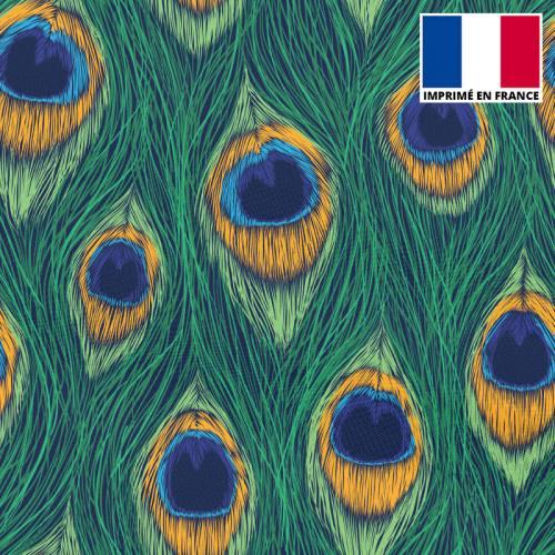 tissu microfibre cru imprim fleur aquarelle bleue. Black Bedroom Furniture Sets. Home Design Ideas