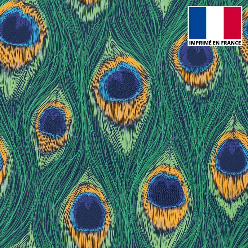 Satin vert motif plume de paon dessin