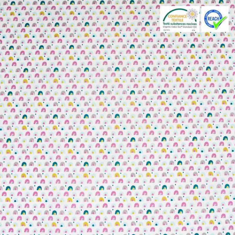 Coton blanc imprimé pont rose et vert