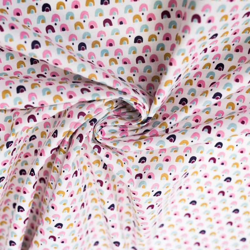 Coton blanc imprimé pont fuchsia et ocre